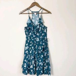 3/$30 Mossimo Teal Floral Faux Wrap Dress 192